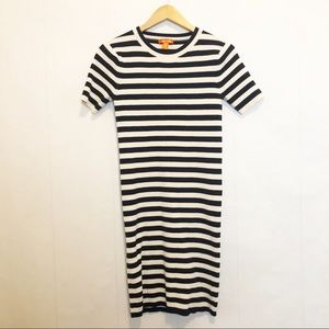 Navy/Off White Ribbed Striped Dress